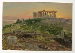 Over a rough hillside, the Parthenon appears in the right middle ground.  Classical fragments in the left foreground and the Piraeus in the left distance.