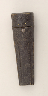 Small wooden case covered with shagreen. Two circular and one wide opening inside. Lid hinged to the lower part of the body.
