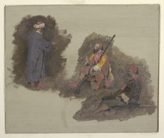 At top left a standing man is shown from the right back. At center and below right two men are seated, the first with a pipe and a gun, the other with a sword.