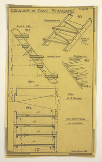 Design for a mass-operational house by Guimard, detailing the staircase for the storage space.