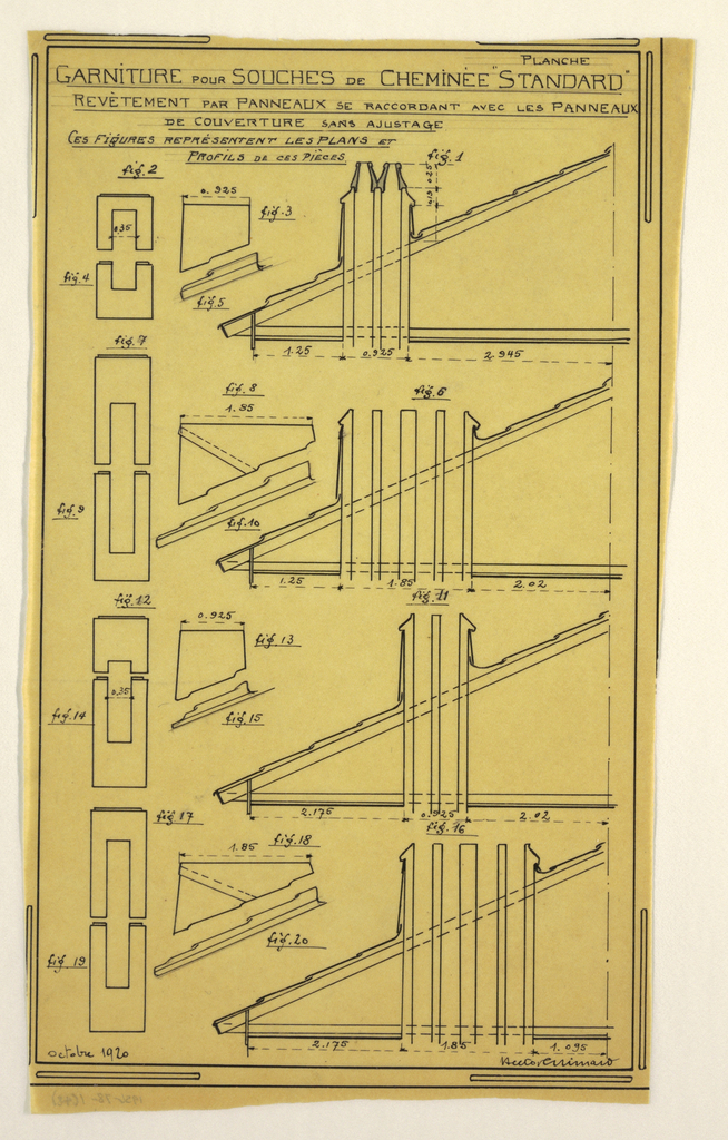 Design for a mass-operational house by Guimard, detailing the construction of supports for the chimney.