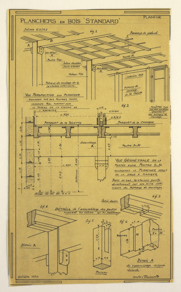 Design for a mass-operational house by Guimard, detailing the construction of wooden support columns.