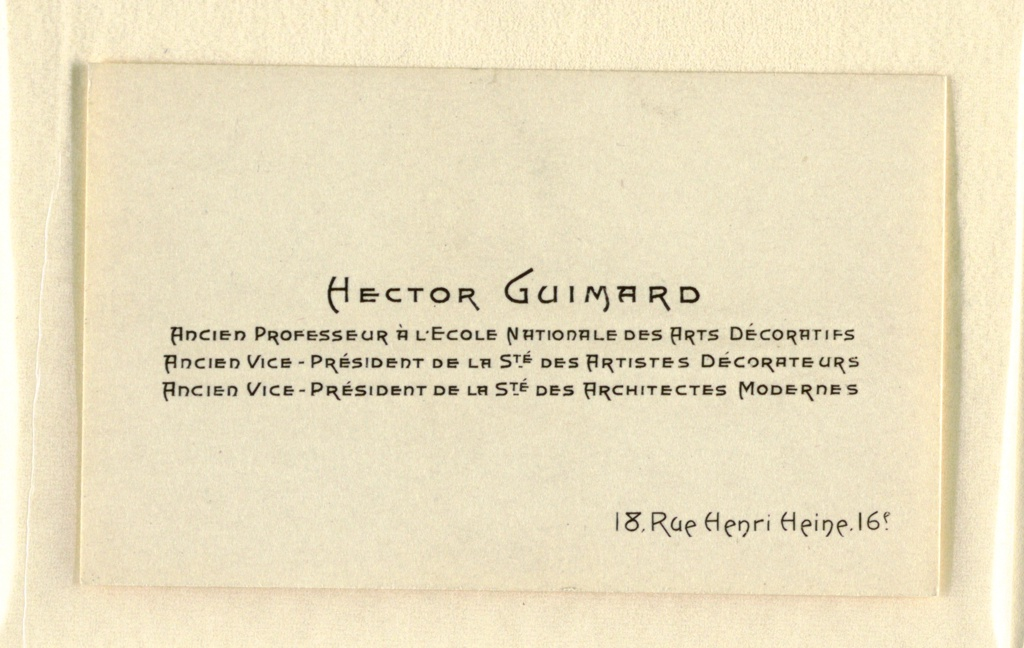 Business Card, Business Card of Hector Guimard