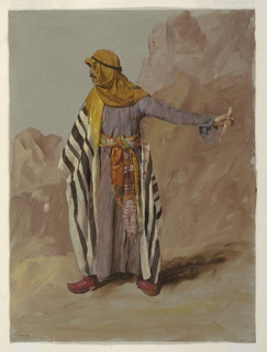 Vertical drawing of a Bedouin figure standing in front of rocks looking left and holding a piece of cane in his extended left hand.