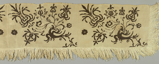 "Four natural linen rectangular fragments sewn together, each embroidered in brown wool showing a bird in a scrolling branch with exotic blossoms. Two panels the mirror image of the other. Length of weft-loop fringe of about 3"" sewn to three sides."