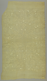 Panel of piña cloth with allover geometric appliqué pattern, repeated twice.
