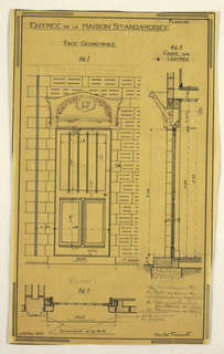 Design for a mass-operational house by Guimard, detailing the front entrance.