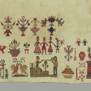 A horizontal rectangle with red, blue and mustard color stitching on natural ground.  At the top are six different alphabets in red introduced by crown and Maltese cross and followed by birds. Religious and domestic spot motifs are densely arranged at the bottom. A large unembroidered space in between indicates that the sampler is unfinished. It shows a strong German/Austrian influence.