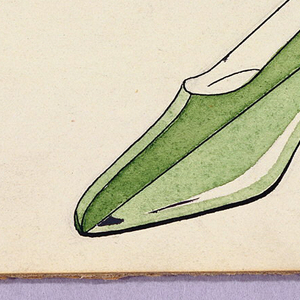 Design of a green high-heeled shoe. Inscribed in black ink, lower right: COPYRIGHTED.