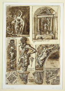 Sheet of studies of sculptures and architectural fragments.  It shows ten fragments of monuments, various in type, some architectural and some decorative.  At top row, to the left, a panel depicting a satyr watching as Venus lifts the bow of Cupid.  It is inscribed: coreggio Bologna.  On the right hand side is a niche with a statue of a man in armor.  Inscribed: Bologna monumento del sei cento.  At the middle portion, first to the left is a decorative panel, oriented vertically, with military details/trophy (helmet, armor, drum).  Next to it, to the right, is a statue of a man in armor, lower parts of the legs missing.  Inscription to the right of the statue: mounumento / sei cento / Bolognese.  Next to the statue, to the right, is a fragment of a spandrel with a relief of a female figure (Genius).  Inscribed within the arched opening: 17 OTTVBRE / XAMBECARI / 1811.  The bottom row consists of five small-scale architectural details.   Verso: study of the muscles of a man's legs with reference numbers and notations in pen and brown ink