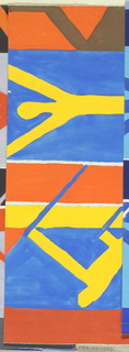 Partial view of geometric pattern design with jagged, zigzagging diagonal stripes in orange, yellow, blue, and brown. Abstract figures in yellow engaged in sports, possibly swimming and skiing.