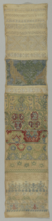 Long narrow samplers embroidered with horizontal bands of withdrawn element work and embroidery in stylized floral border forms, in blue, green, red, yellow and off-white.