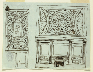 Horizontal rectangle. At left, division of ceiling into panels, below, short side of room. At right, elevation of wall of room with chimney mantel piece, and ceiling. Verso: two sketches for division of same ceiling.