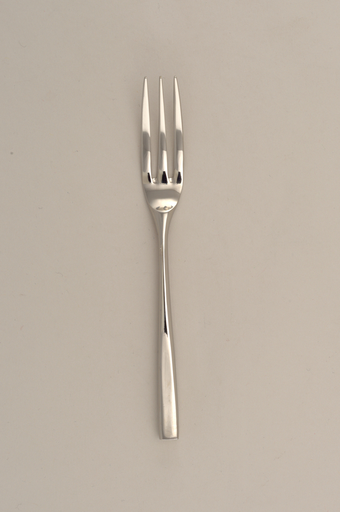 Three-tined with tapering, tubular, square handle.