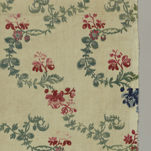 Sharply curved green vines with blue and red flowers. The pattern is made up of a straight repeat of counterfaced units. Lengths of fabric placed side by side would have continued pattern.