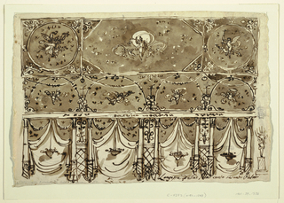"""Horizontal rectangle. Beginning at height of upper part of body of chandeliers, consisting of women standing upon columns and raising their arms. Ring with candles sketched at right edge. Women stand between embedded columns, at right. Broad intervals between columns decorated with tent-like drapery, in front, bowl of fruits hangs.  Above: besides drapery are two festoons. Above entablatures are semi-circles each with flying putto, crossed by festoons. Main panel of ceiling: tiara in front of moon, between two putti and stars. Beside two square panels with circle inside, left one, a woman with flowers next to putto with plate; right one, winged figure with torch beside putto. Both circles with stars in background. Written below at right: """"Longezza d'ella sala cento sesanta Palmi"""". Verso: in pencil, square and sheet on upper part of woman with trumpet."""