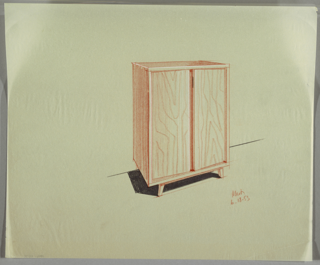 Wooden cabinet with straight short legs and two doors.