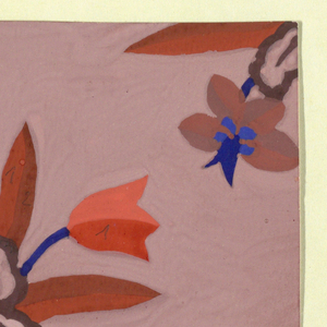 On rose ground, orange and blue tulips with dark orange leaves and blue stems; taupe and blue flowers at top