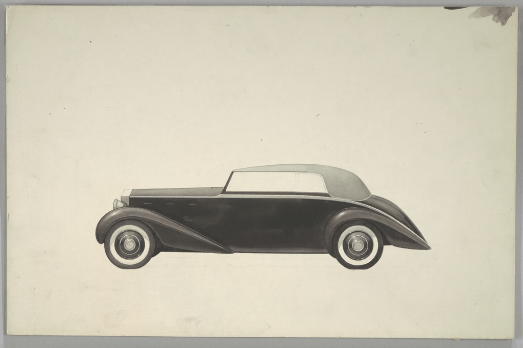 Side view, design for a Rolls Royce automobile in black and gray with whitewall tires. The body of the back of the car curves downward into a point, a shape that is repeated in the form of the body above the front wheels. Ground line indicated in graphite, blurred wash at upper right corner.
