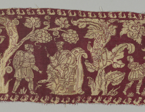 Oblong panel of linen embroidered in red silk. The background is solidly worked leaving the design in linen. Figures of people move in various scenes among trees. Figures and foliage are naturalistically rendered and are outlined in single running stitch. Background is in cross stitch. The scenes are probably biblical in origin, and the center group represents Saul hurling a spear at David who plays on his harp.