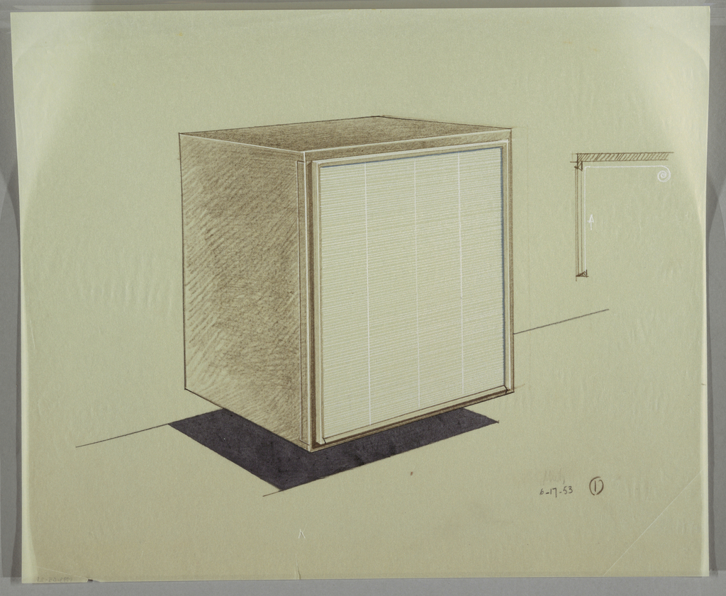 Floating cabinet like a cube with dark walls and white interior.