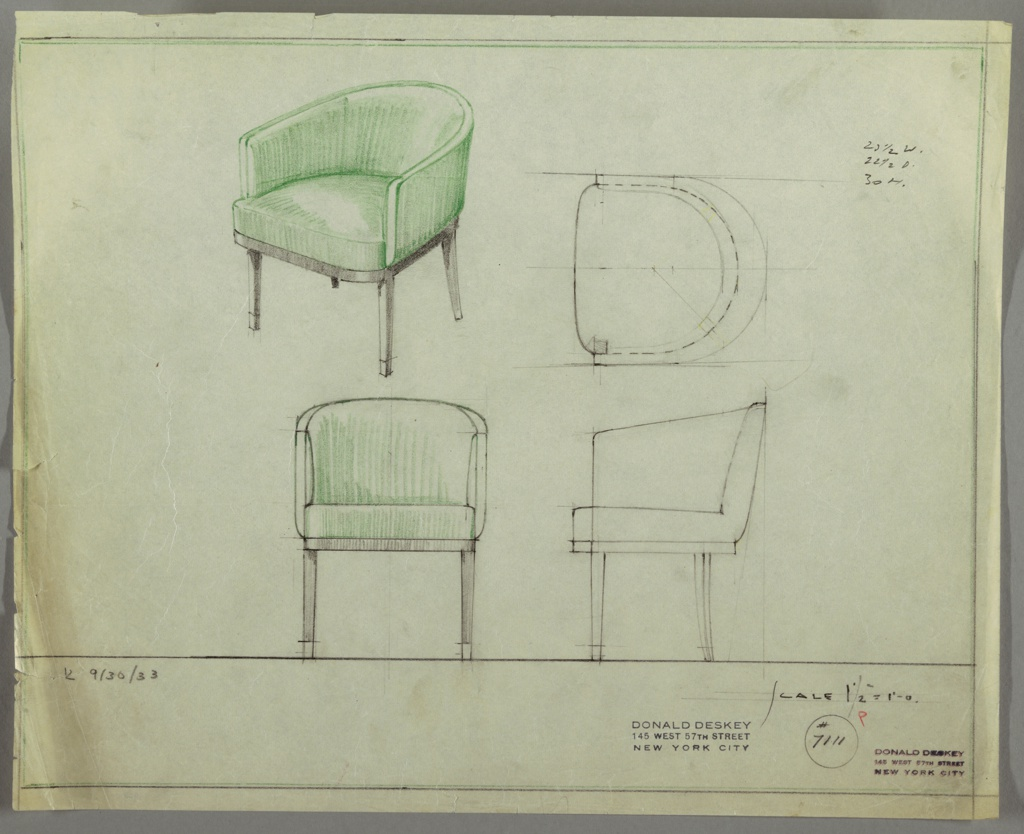 Drawing, Tubchair: Wood, Upholstered
