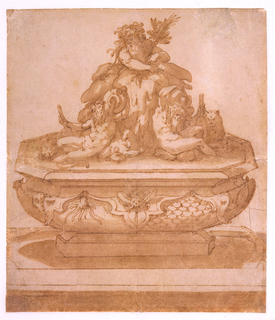 Drawing, Recto: Fountain Design with Oceanus and the River Gods Arno and Tiber