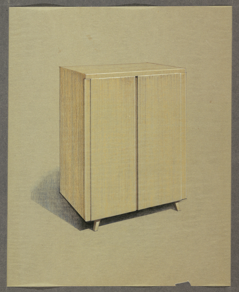 Cabinet with flared feet and two doors.