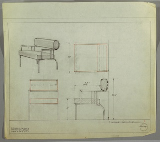 Drawing, Armchair: Metal, Upholstered