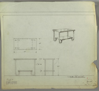 Perspective, plan, and elevation drawing for end table. Rectangular top of table in polished wood, or Bakelite (?); straight, squared legs at each corner with rounded feet to support stretcher/shelf at bottom.