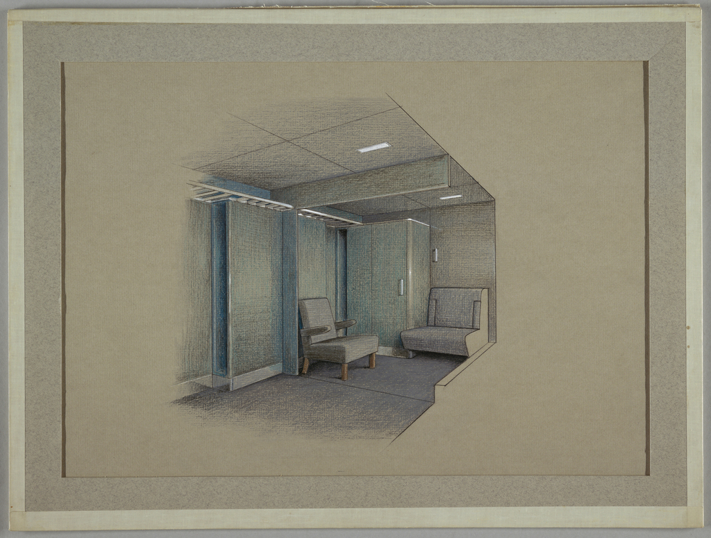 Interior, possible waiting area with one armchair in gray, another chair attached to the wall also in gray; cabinet/closet in blue and walls also in blue.