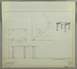 Perspective drawing, plan, and elevations for a small rectangular end table. Top of table is smooth reflective surface, probably Bakelite. Four tubular metal legs, each in shape of U with rounded edge on ground.
