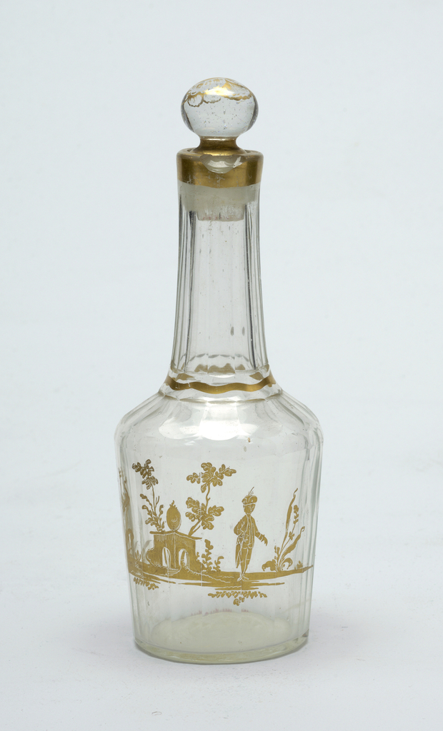 Cruet bottle with stopper, clear glass with gold decoration