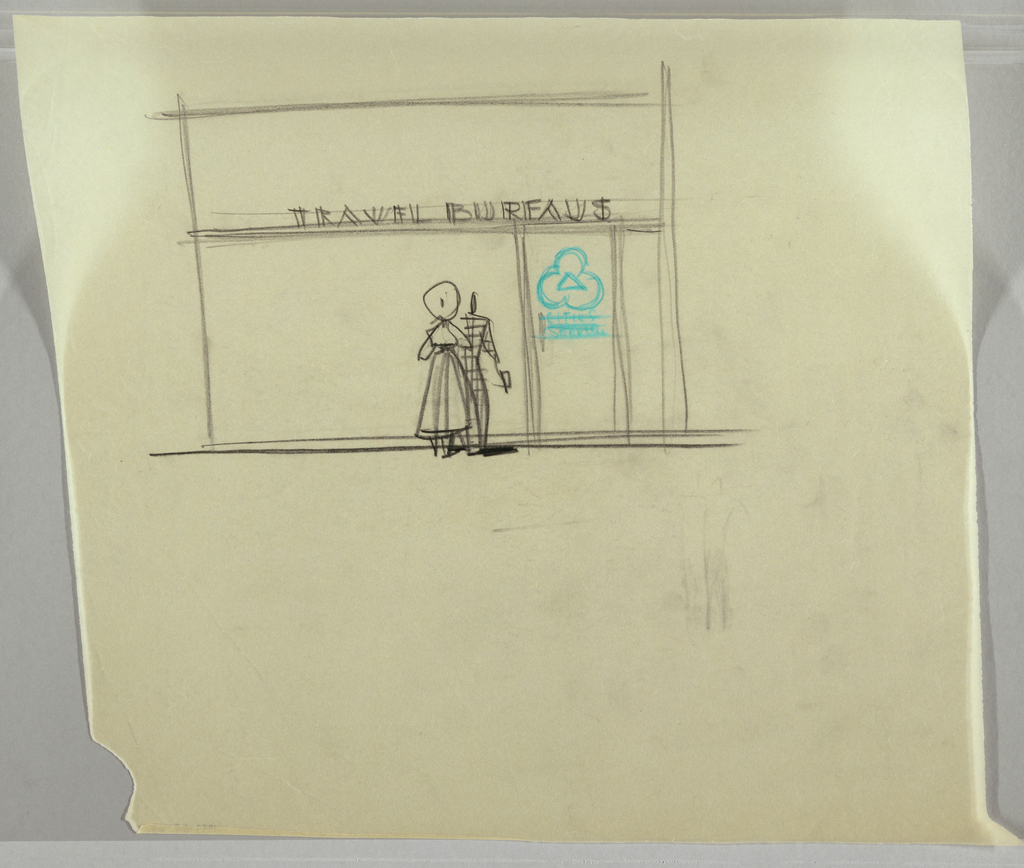 Design elevation for an office; two figures in front of sign that reads: TRAVEL BUREAUS with green clover with crossed out text: CITIES SERVICE (?).