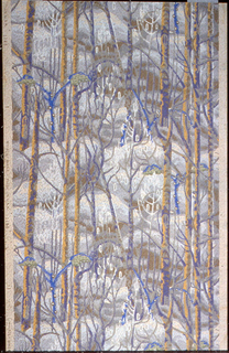 Repeating scene of a forest of birch trees in winter. Printed in purples, blue, ocher and white on tan embossed ground.