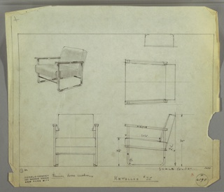 Design for upholstered armchair seen in perspective, plan, and elevations. Square tubular metal U-shaped supports on either side feature metal stretcher at front and rectangular maple armrests. Seat and backrest upholstered cushions. Inscribed with Deskey No. 6195 and Metallon No. 35.