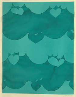 Abstract swag motif with cut out heart shapes above and below in green on turquoise-green background.