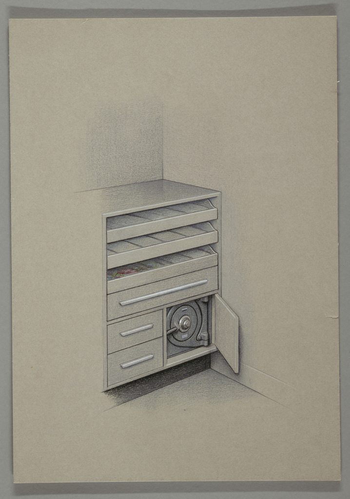 Design for a cabinet with three open drawers, one closed drawer with long horizontal handle and two smaller closed drawers; on the right is an open cabinet with a closed safe inside.