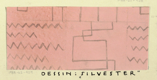 Line motif and zigzags in taupe on pink ground.