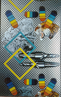 Contains motifs of drill bits, engine parts, a leopard head, a blue square, a yellow square and various sized capsule shapes. Printed on a grid background composed of silver and black triangles.