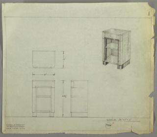 Perspective, plan, and elevation drawing of end table of burled wood and darker wood at base. Rounded front edges and squared back edges. Drawer with no pull at top of table; two open shelves below.