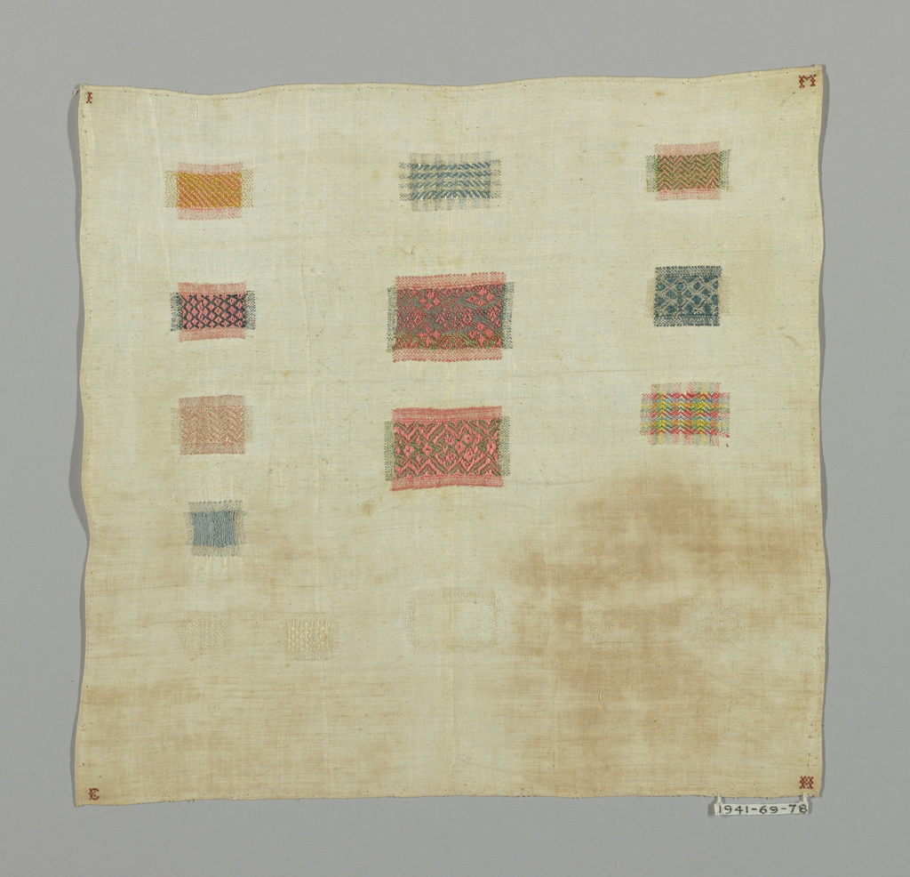 """Fifteen samples of darning in different patterns; in each corner an initial """"L M E M."""""""