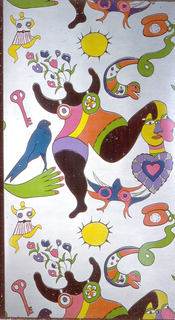 Children's paper containing the classic nanny figures with snakes, sun, bird on hand, and key. a) Printed in colors on a white ground; b) Printed in colors on brown ground.