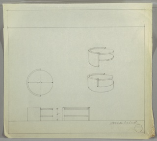 Perspective, plan, and elevation drawing for low, round end table. Two versions of table at right; rounded frame at left of table, with two open shelves at right. Version below has lower shelf connected to base.