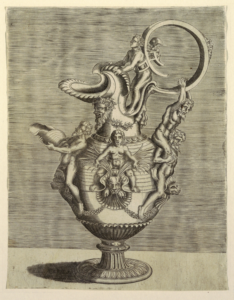 The handle is at upper right; a man is bound to it by a harness at his waist. On the right side of the body a man astride a grotesque mask supports on his shoulders another man who grasps the handle. Also astride masks are a putto, at center, and a bearded man with a shell, at left.