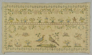 """Horizontal rectangle, polychrome on natural. Design consists of narrow outer border curving rose vine, 1 3/4"""" high rose border motifs including birds, rabbits, cat on cushion and two wreaths, wreath on right contains date 183(5)? At lower left motif of a boy on ship, and a woman with a parasol."""