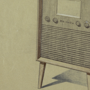 Radio with straight legs, four knobs and a screen.