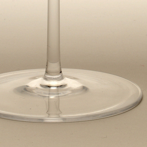 Thin mouth-blown glass, hemispherical bowl on tall thin stem and round foot