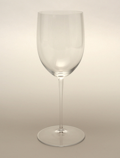 Thin mouth-blown glass with straight sided cylinder on tall thin stem