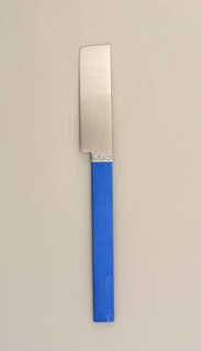 Flat rectangular blade attached to flat blue rectangular handle.